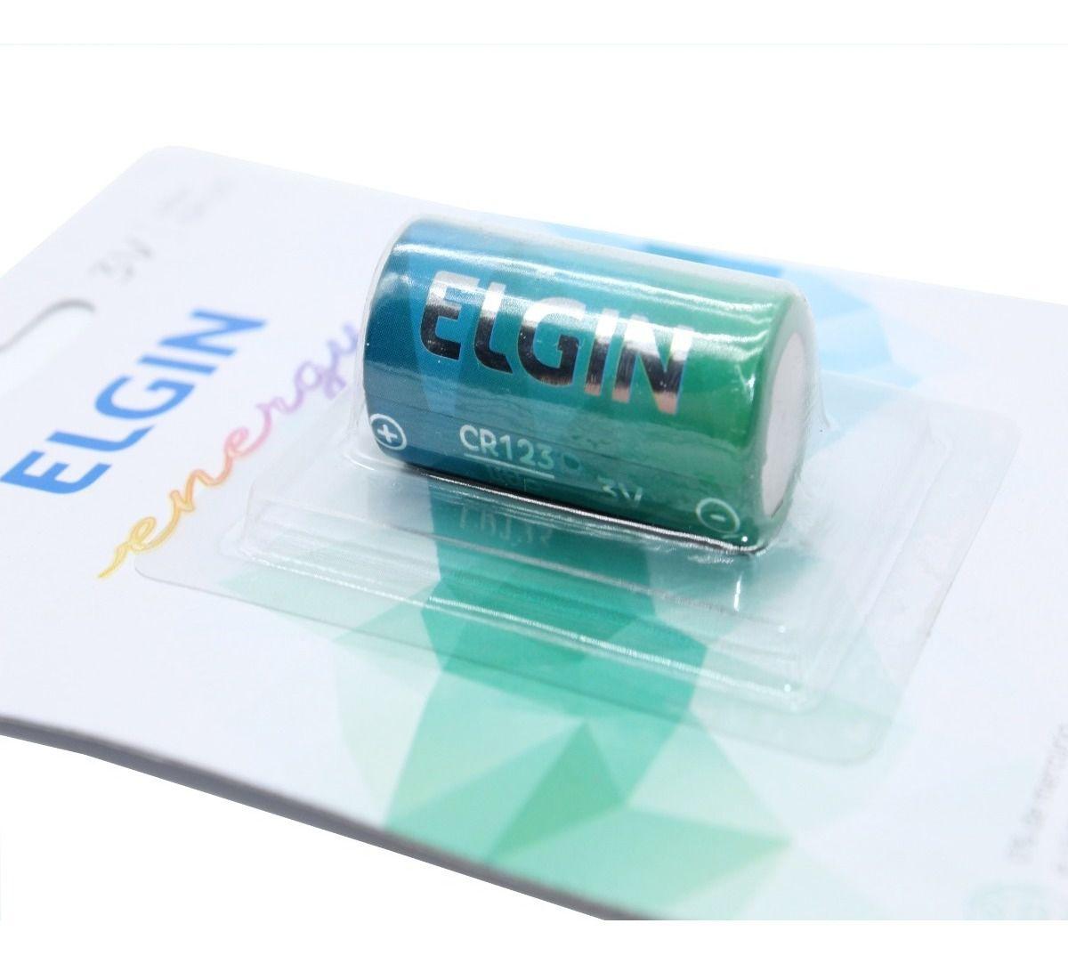 01 Pilha Bateria CR123A 3V Lithium ELGIN 1 cartela