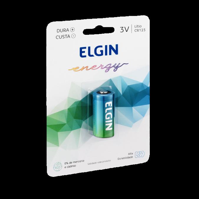 01 Pilha CR123A 3V Lithium ELGIN - 01 cartela com 1 unidade