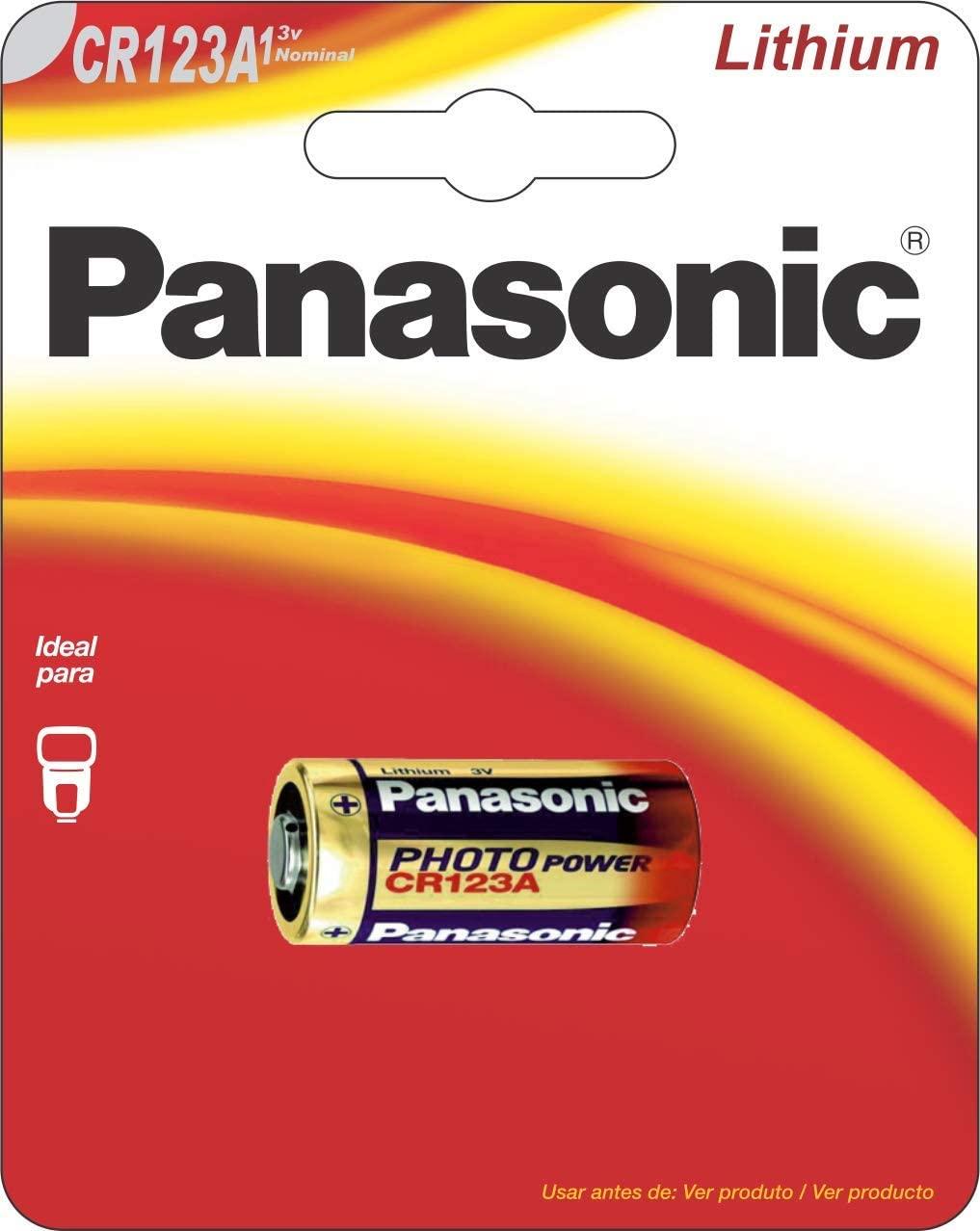 01 Pilha CR123A 3V Lithium PANASONIC- 01 cartela com 1 unidade