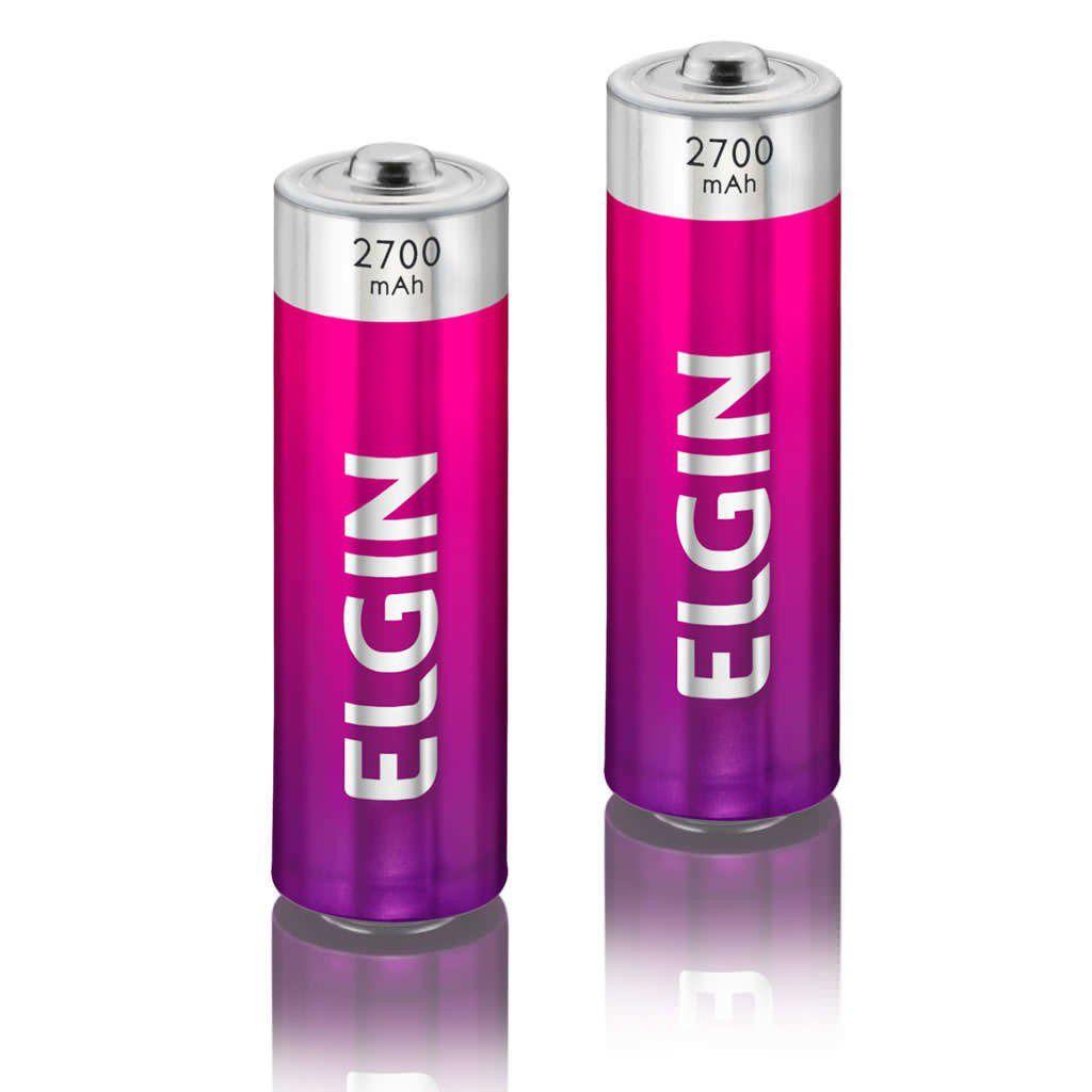 02 Bateria ELGIN AA 2700mAh Recarregável Alcalina 1 cartela
