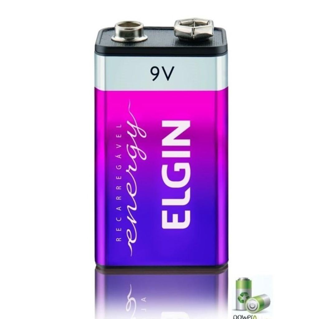 02 Baterias 9V 250mAh Recarregável ELGIN - 02 cartelas com 1 unidade