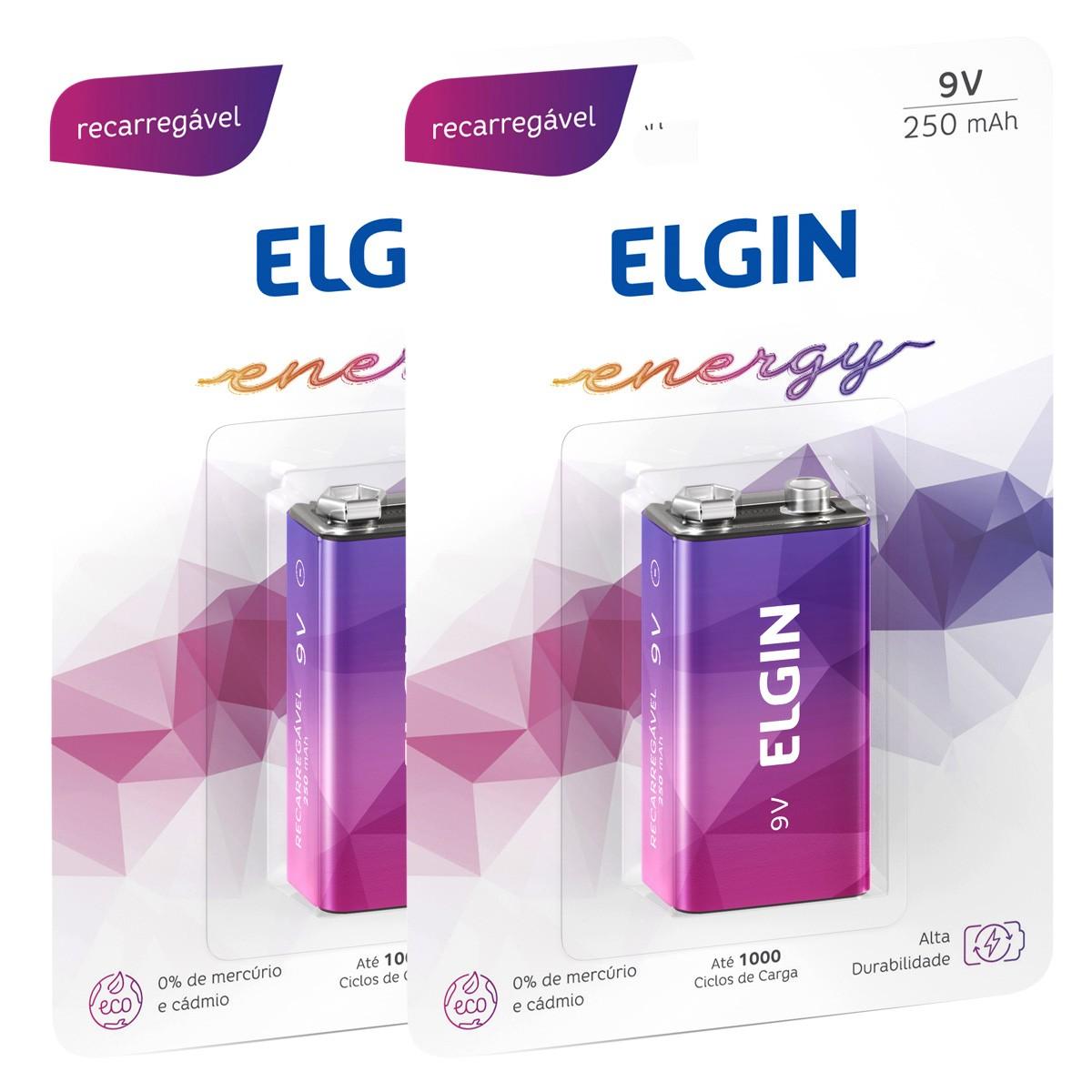 02 Baterias ELGIN 9V 250mAh Recarregável Alcalina 2 cartelas