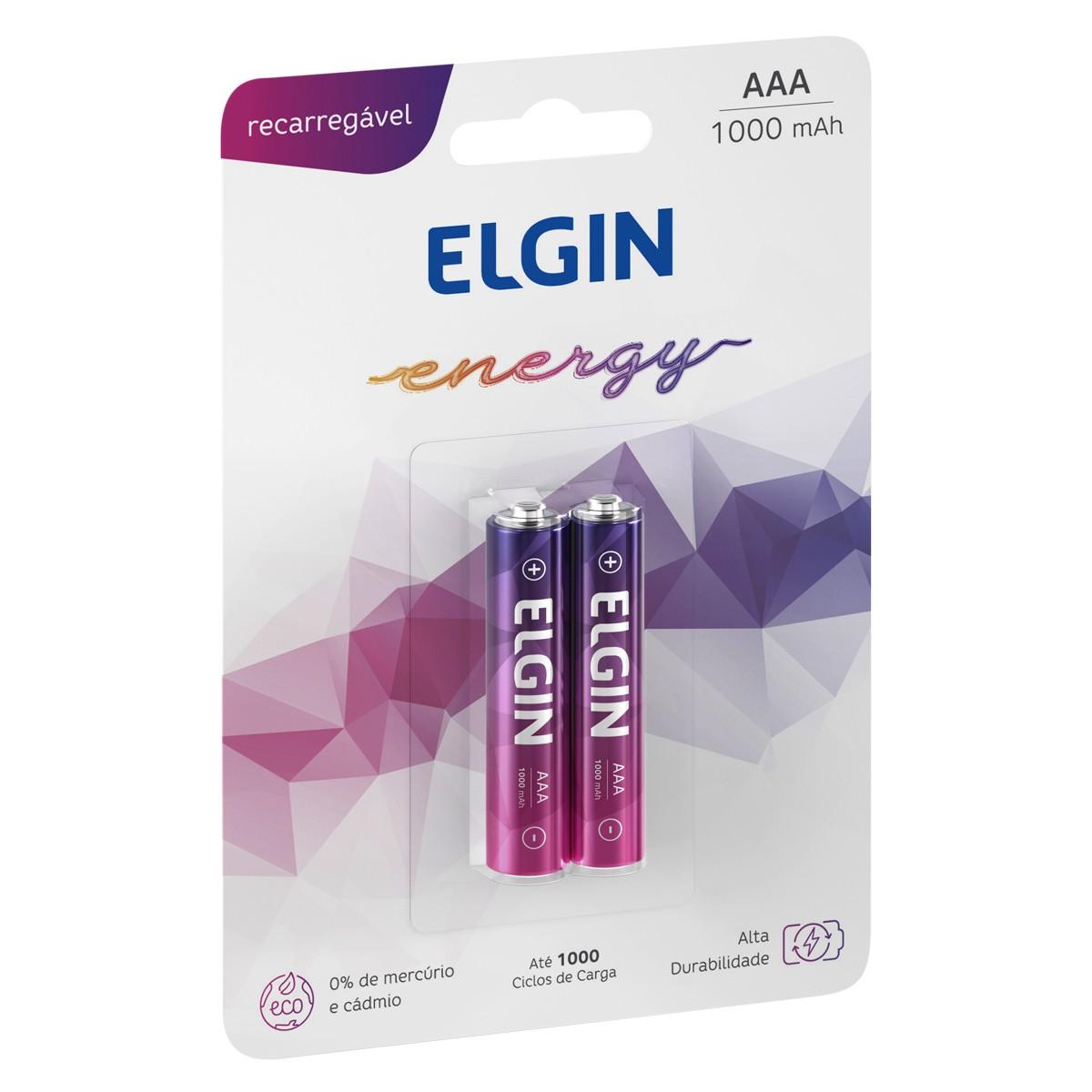 02 Baterias ELGIN AAA 1000mAh Recarregável Alcalina 1 cartela