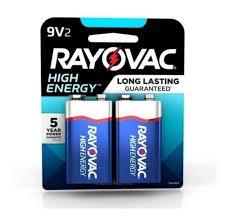 02 Pilhas Bateria 9V Alcalina RAYOVAC - 01 cartela com 2 unidade