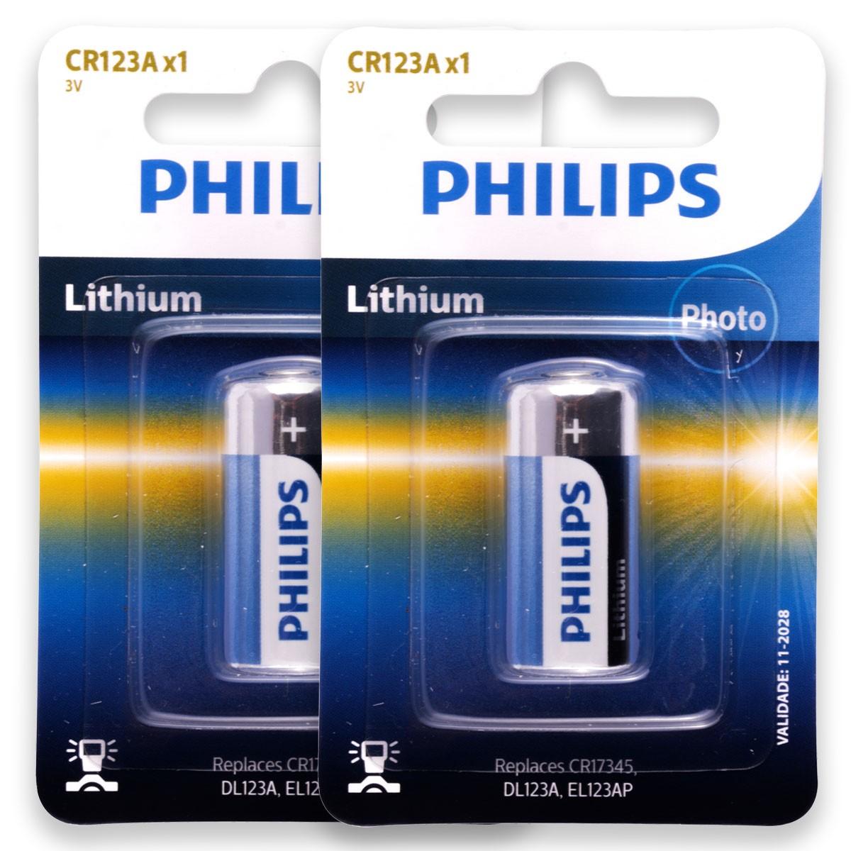 02 Pilha Bateria CR123 PHILIPS 2 cartelas