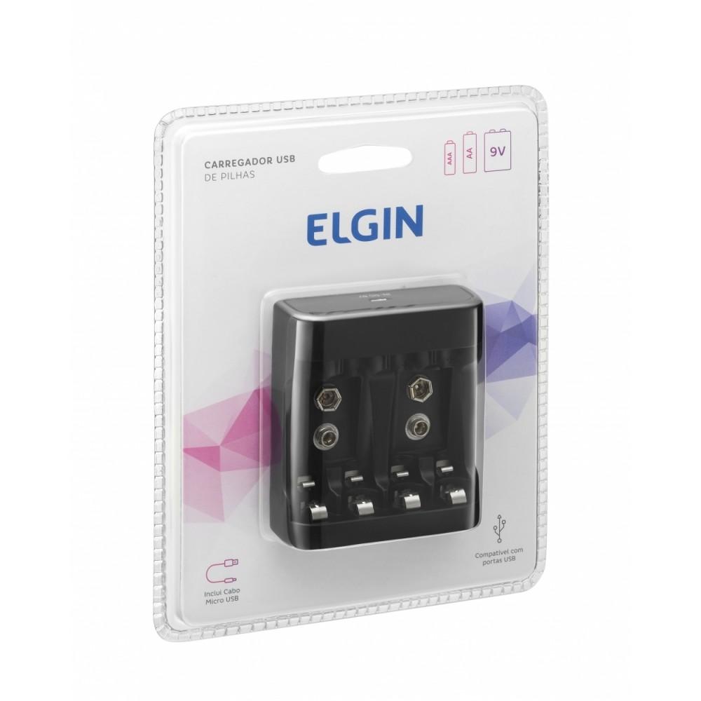 02 Pilhas AA 2500mAh Recarregável ELGIN + Carregador USB
