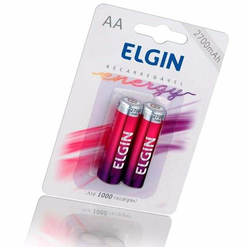 02 Pilhas AA 2700mAh Recarregável ELGIN - 01 cartela com 2 unidades