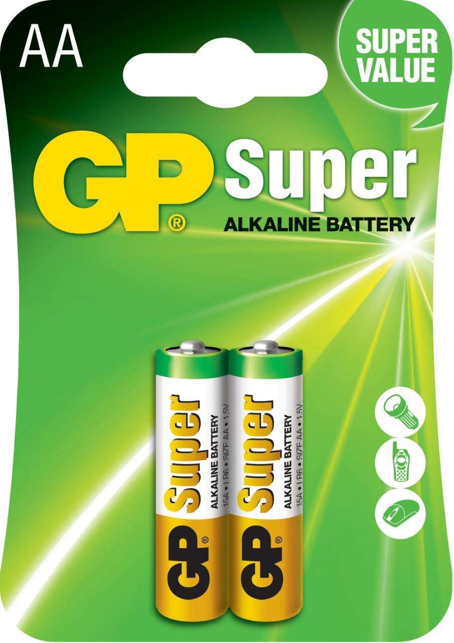 02 Pilhas AA Alcalina GP Super - 1 cartelas com 2 unidades