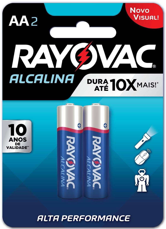 02 Pilhas AA Alcalina RAYOVAC 1 cart c/ 2 unid