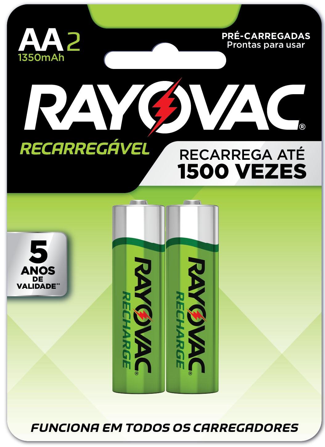 02 Pilhas AA Recarregáveis 1350mAh RAYOVAC 1 cart c/ 2 unid