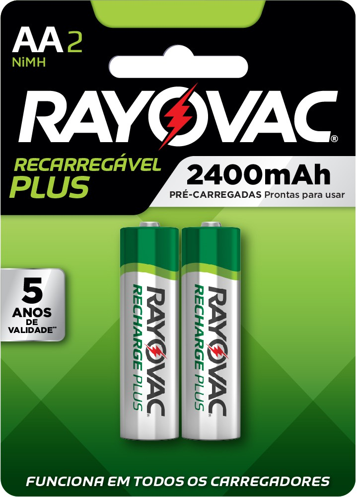 02 Pilhas AA Recarregáveis 2400mAh RAYOVAC 1 cart c/ 2 unid