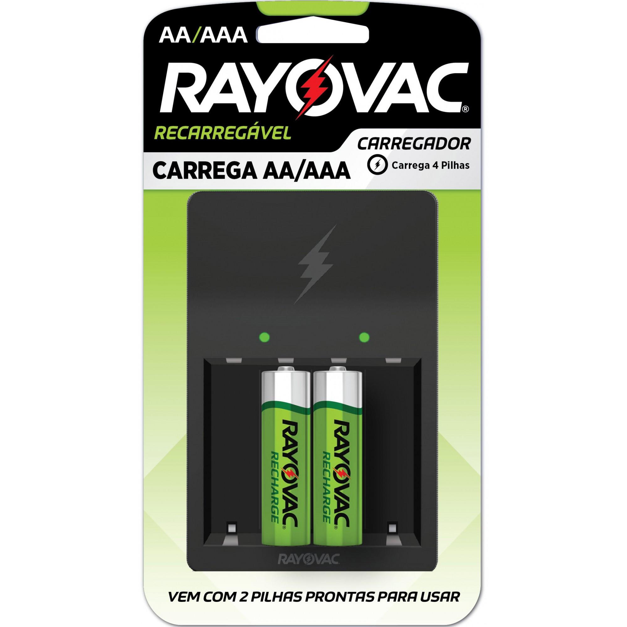 02 Pilhas AA Recarregável 1350mAh + Carregador RAYOVAC 01 cartela