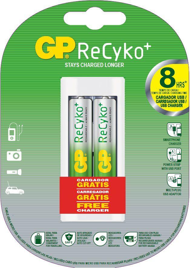 02 Pilhas AA Recarregável 2000mAh + Carregador GP - 01 cartela