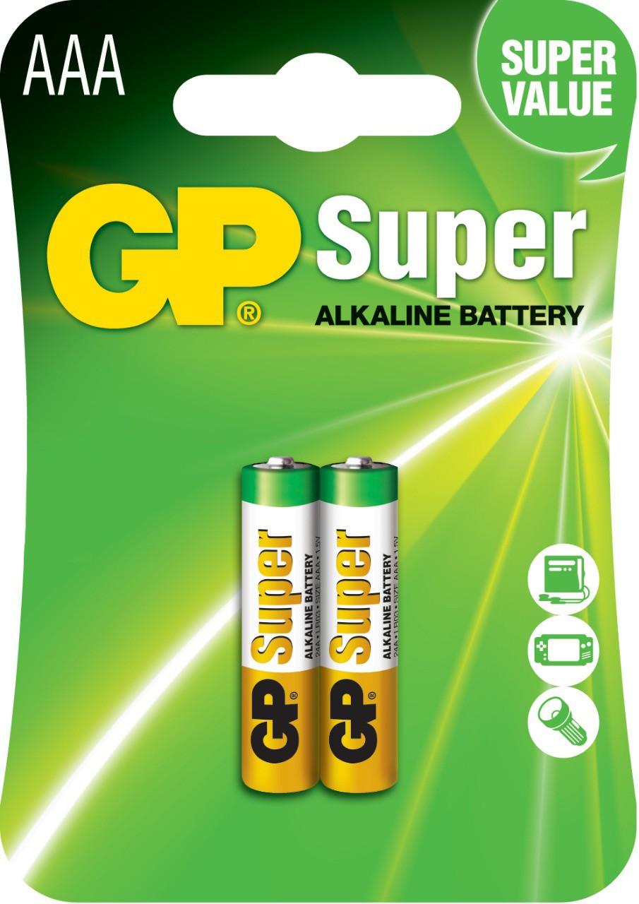 02 Pilhas AAA Alcalina GP Super - 01 cartela com 2 unidades cada