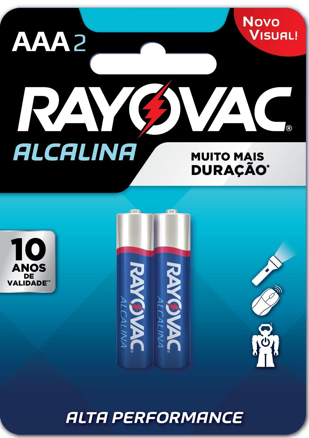 02 Pilhas AAA Alcalina RAYOVAC 1 cart c/ 2 unid