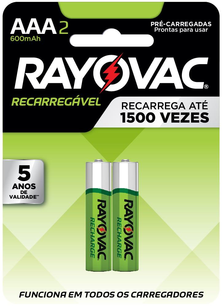 02 Pilhas AAA Recarregáveis 600mAh RAYOVAC 1 cart c/ 2 unid