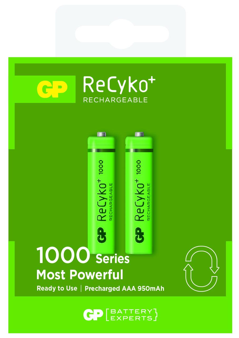 02 Pilhas AAA Recarregável 1000 mAh GP Recycko 1 cartela
