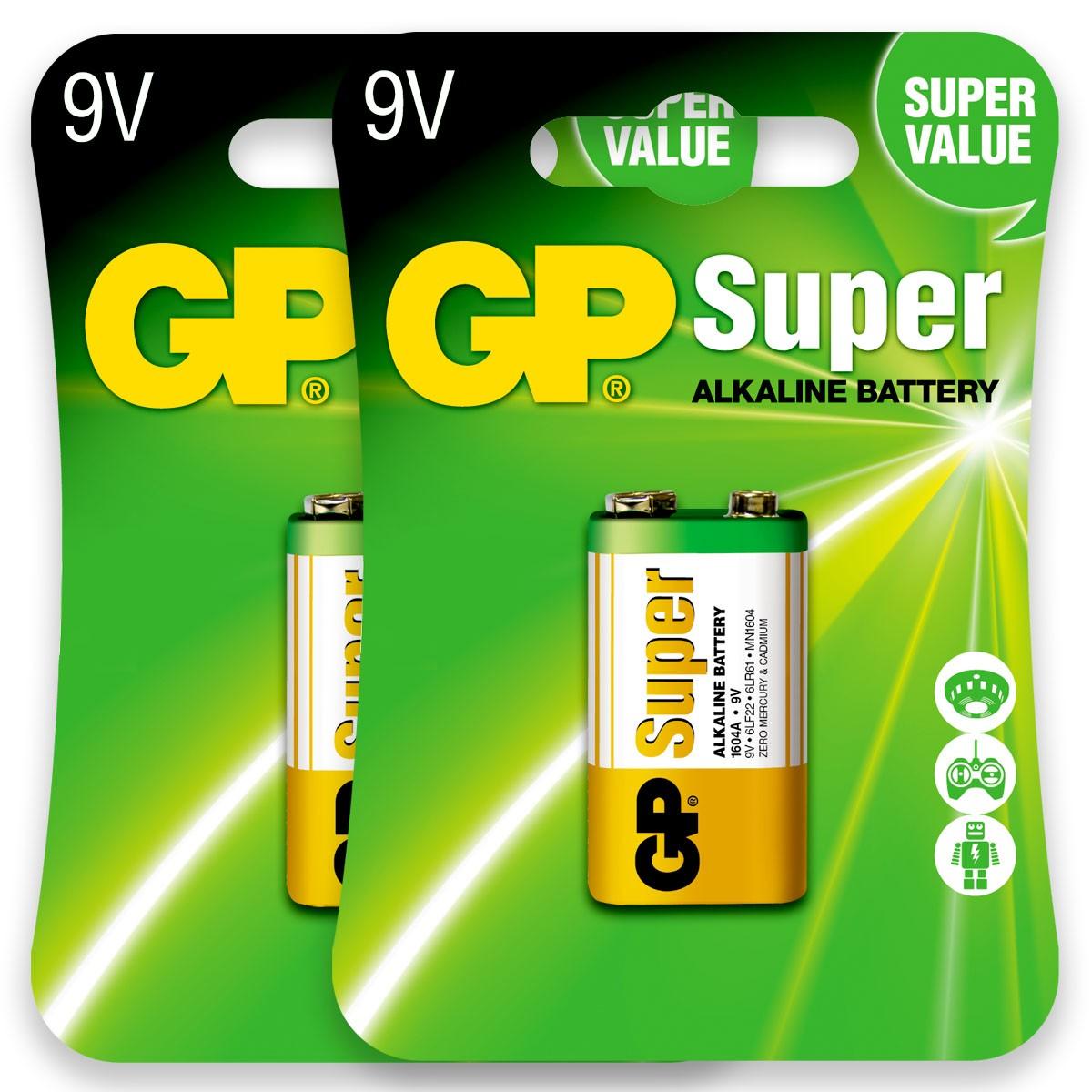 02 Pilhas Bateria 9V Alcalina GP Super 2 cartelas