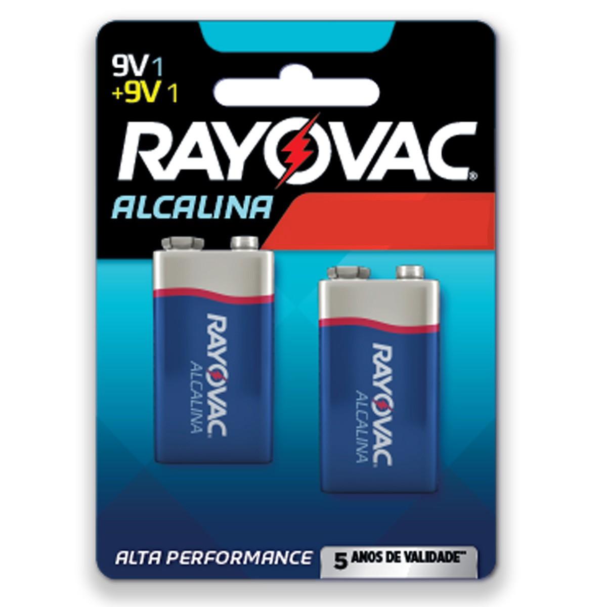 02 Pilhas Bateria 9V Alcalina RAYOVAC 1 cartela