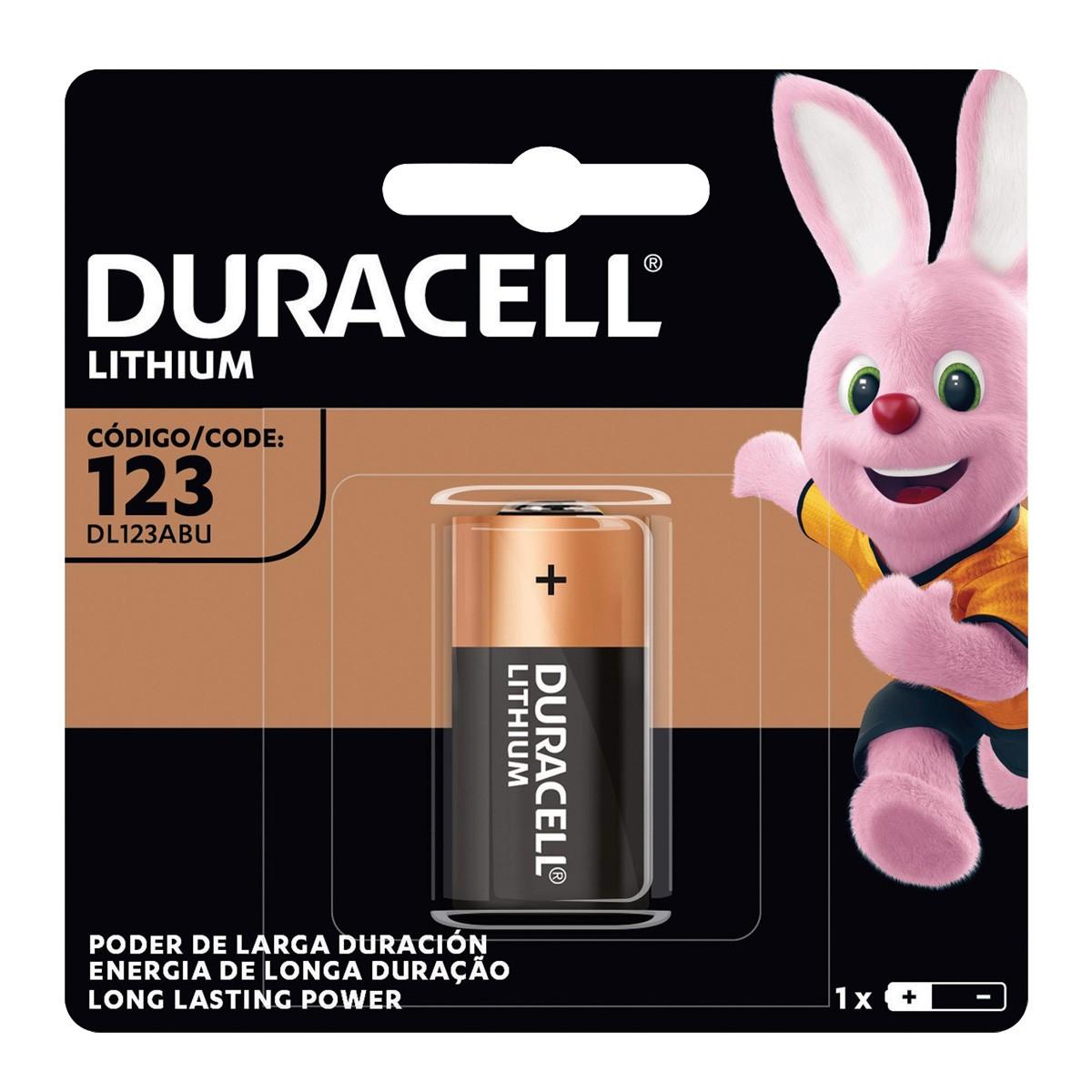 02 Pilhas Bateria CR123 DURACELL 2 cartelas