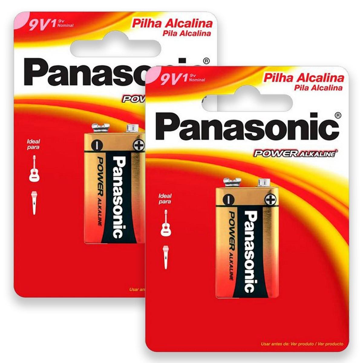 02 Pilhas Baterias 9V Alcalina PANASONIC 2 cartelas