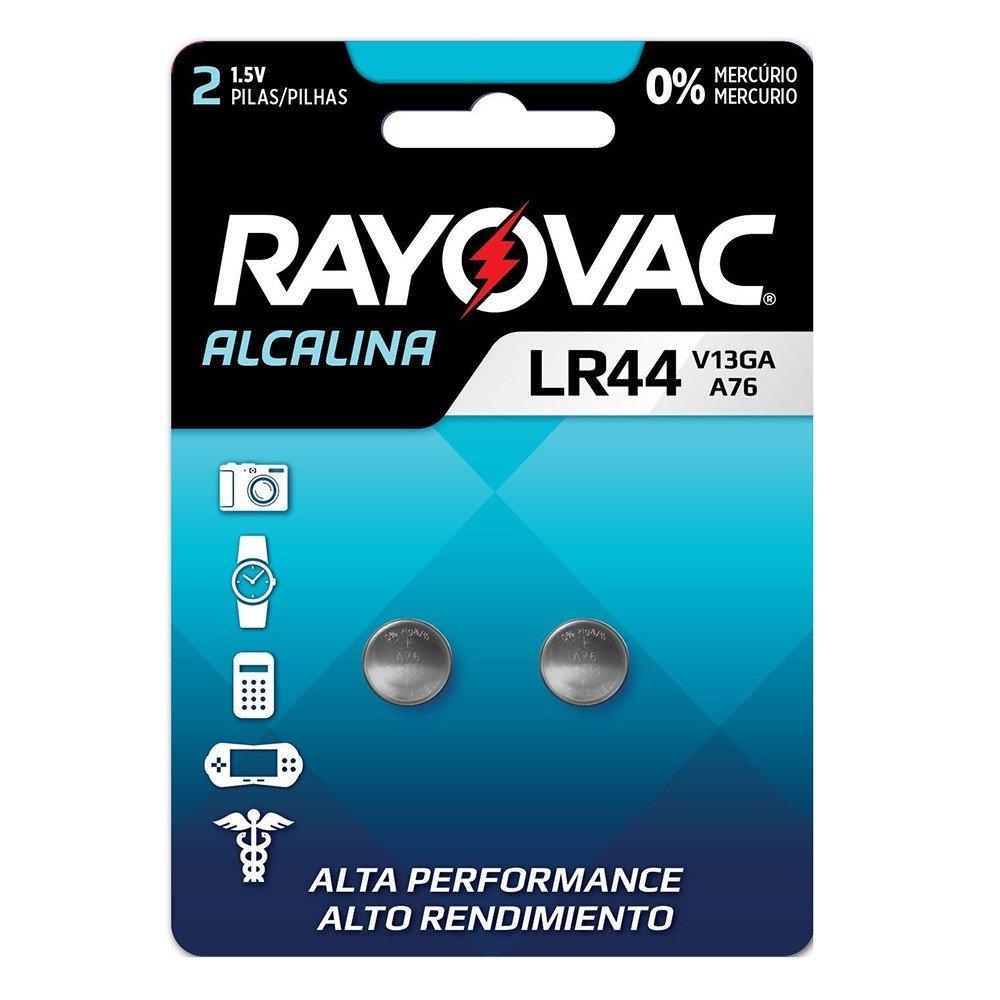 02 Pilhas Baterias LR44 A76 AG13 Alcalina Rayovac - 01 cartela