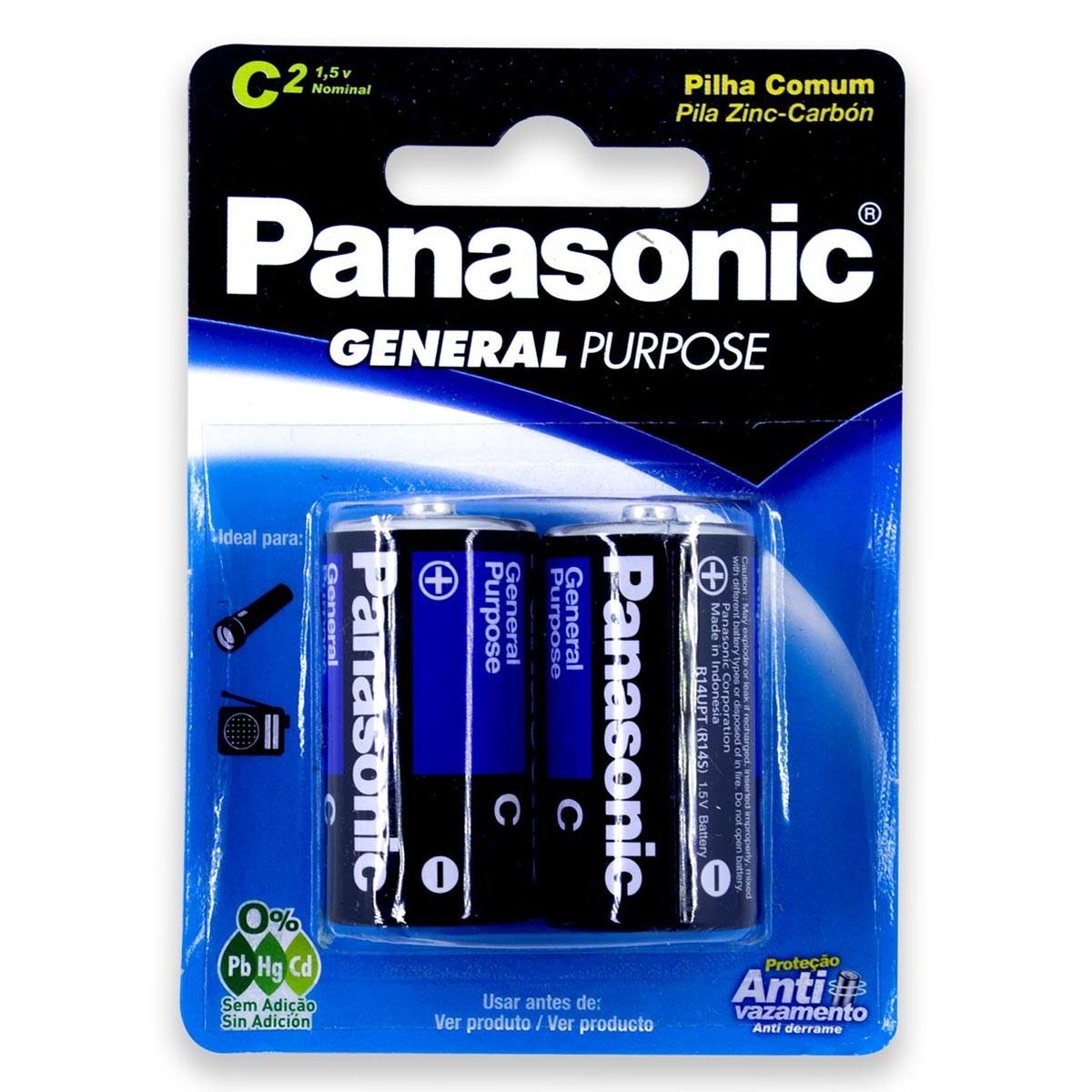 02 Pilhas C Zinco Carvão PANASONIC 1 cartela
