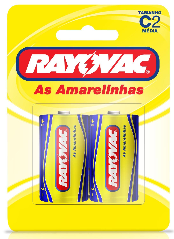 02 Pilhas C Zinco Carvão RAYOVAC 1 cartela