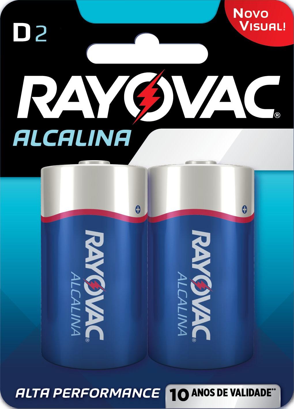 02 Pilhas D Grande LR20 Alcalina RAYOVAC 01 Cart c/ 2 unid