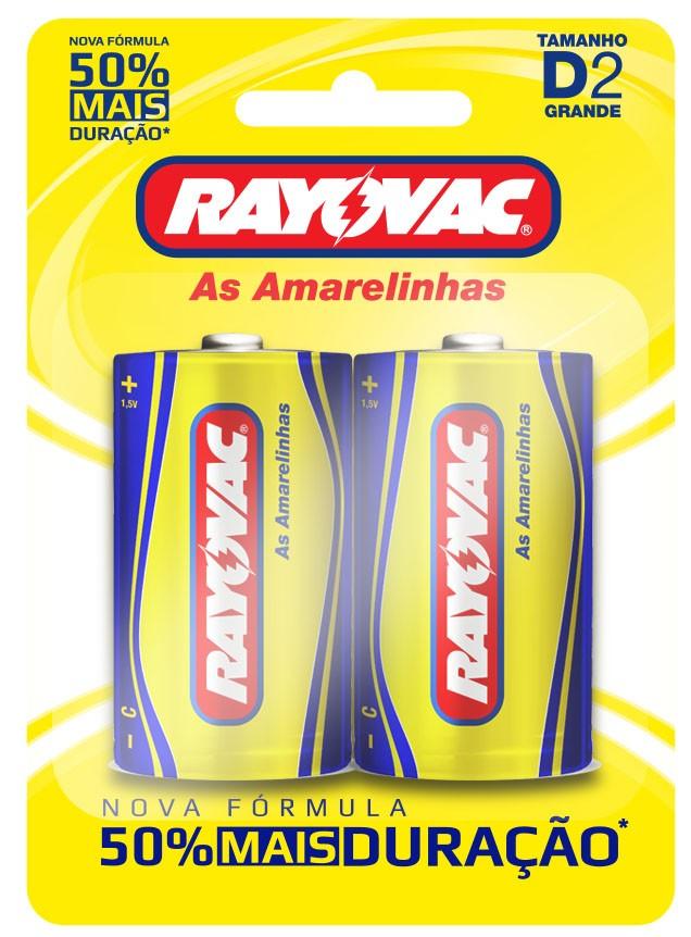 02 Pilhas D Zinco Carvão RAYOVAC 1 cartela