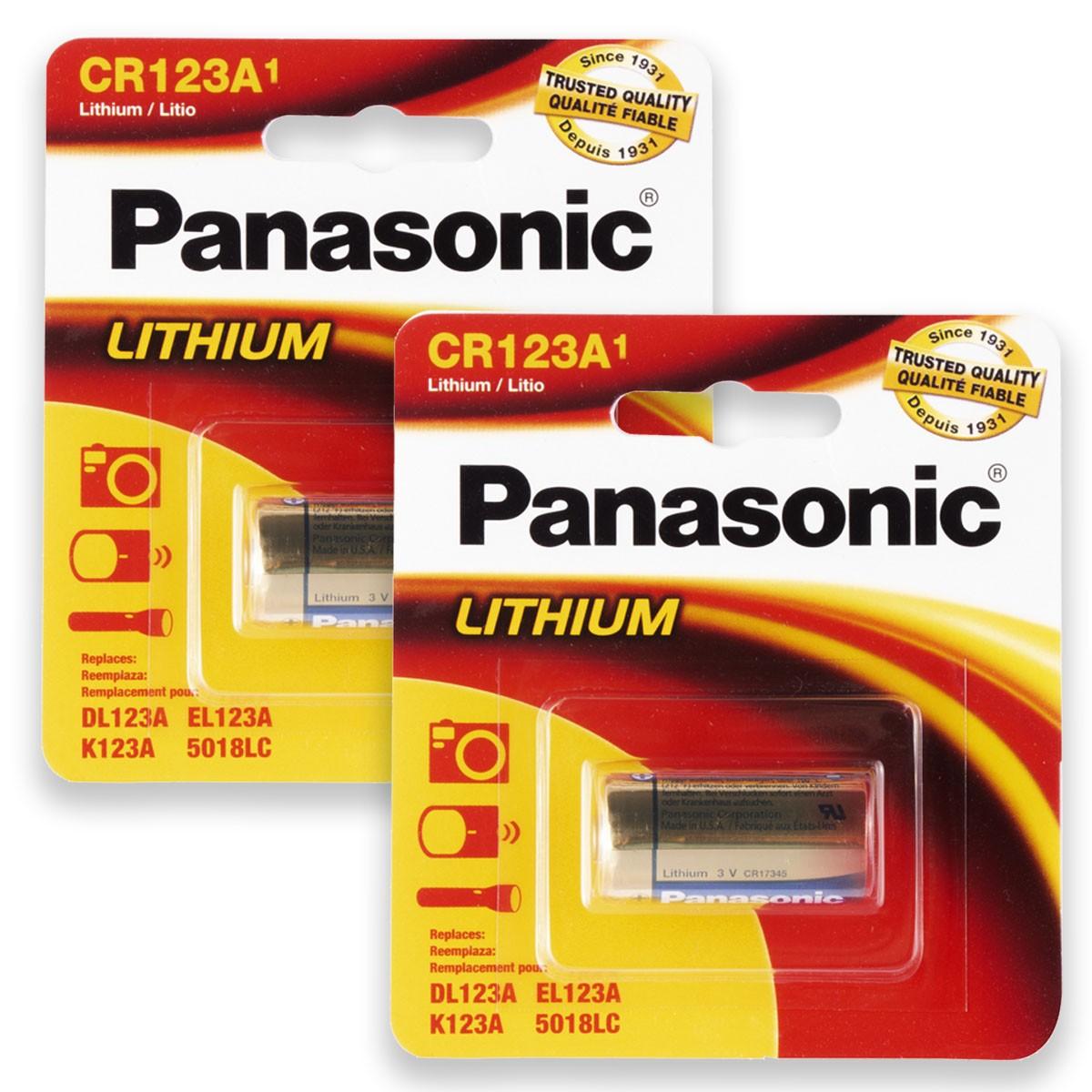 02 Pilhas PANASONIC CR123A 3V Bateria 2 cartelas