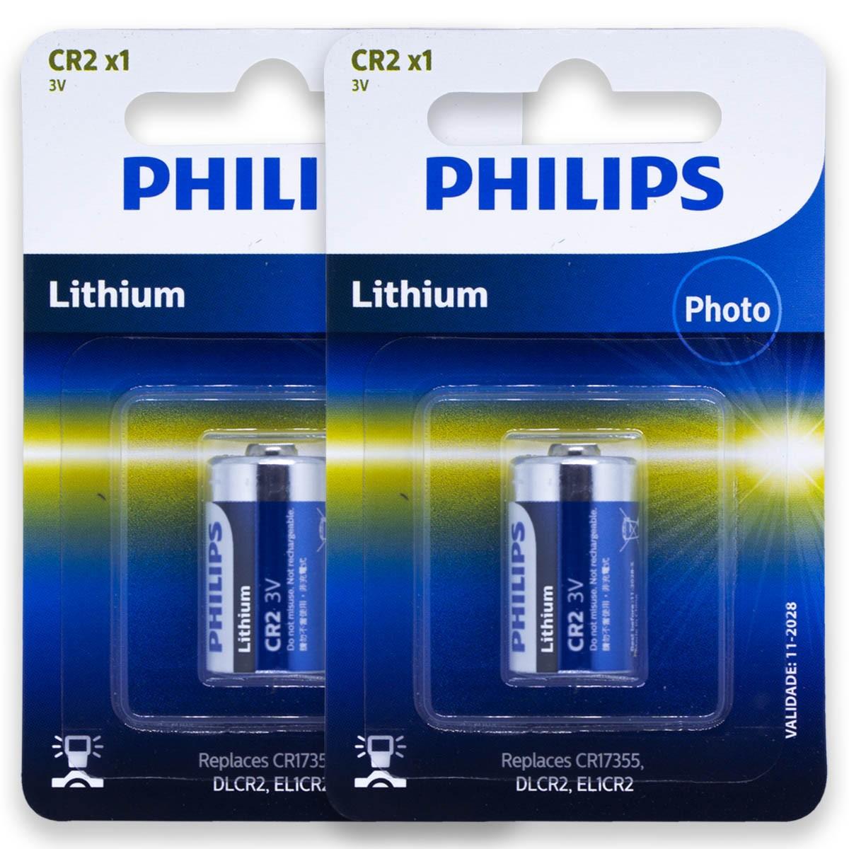 02 Pilhas PHILIPS CR2 3V Bateria 2 cartelas