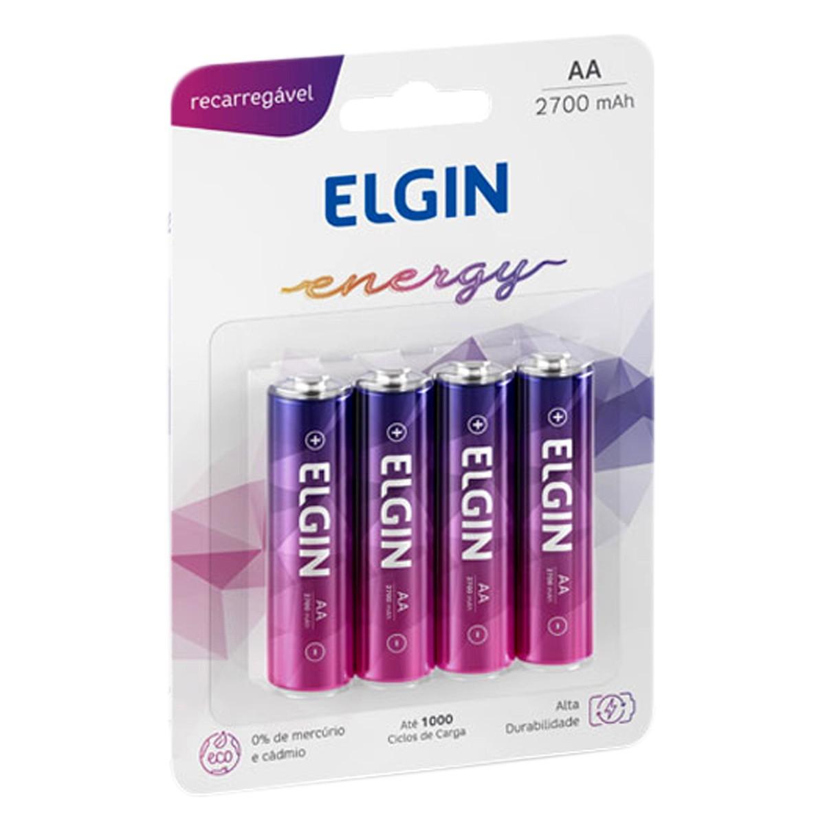 04 Bateria ELGIN AA 2700mAh Recarregável Alcalina 1 cartela