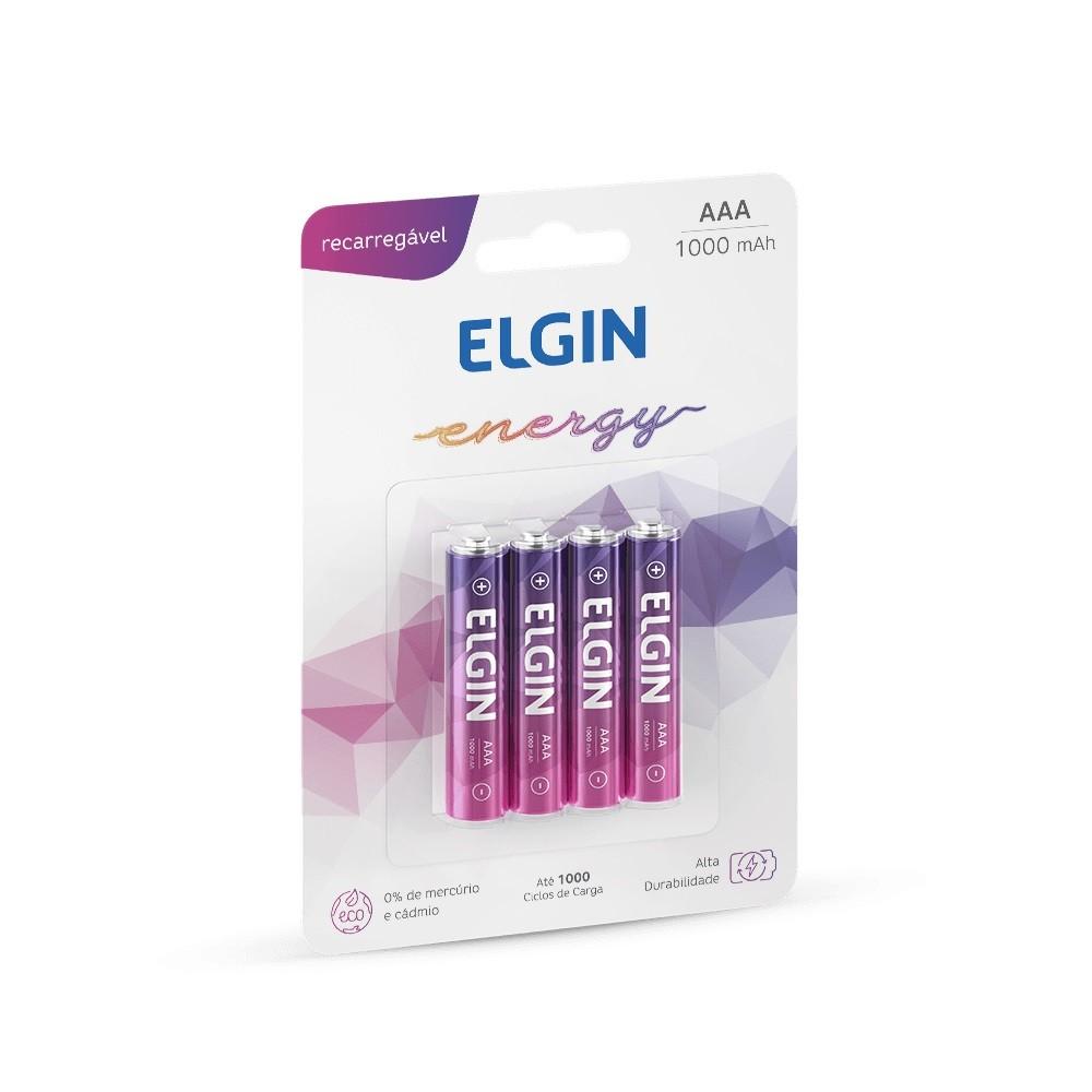 04 Bateria ELGIN AAA 1000mAh Recarregável Alcalina 1 cartela