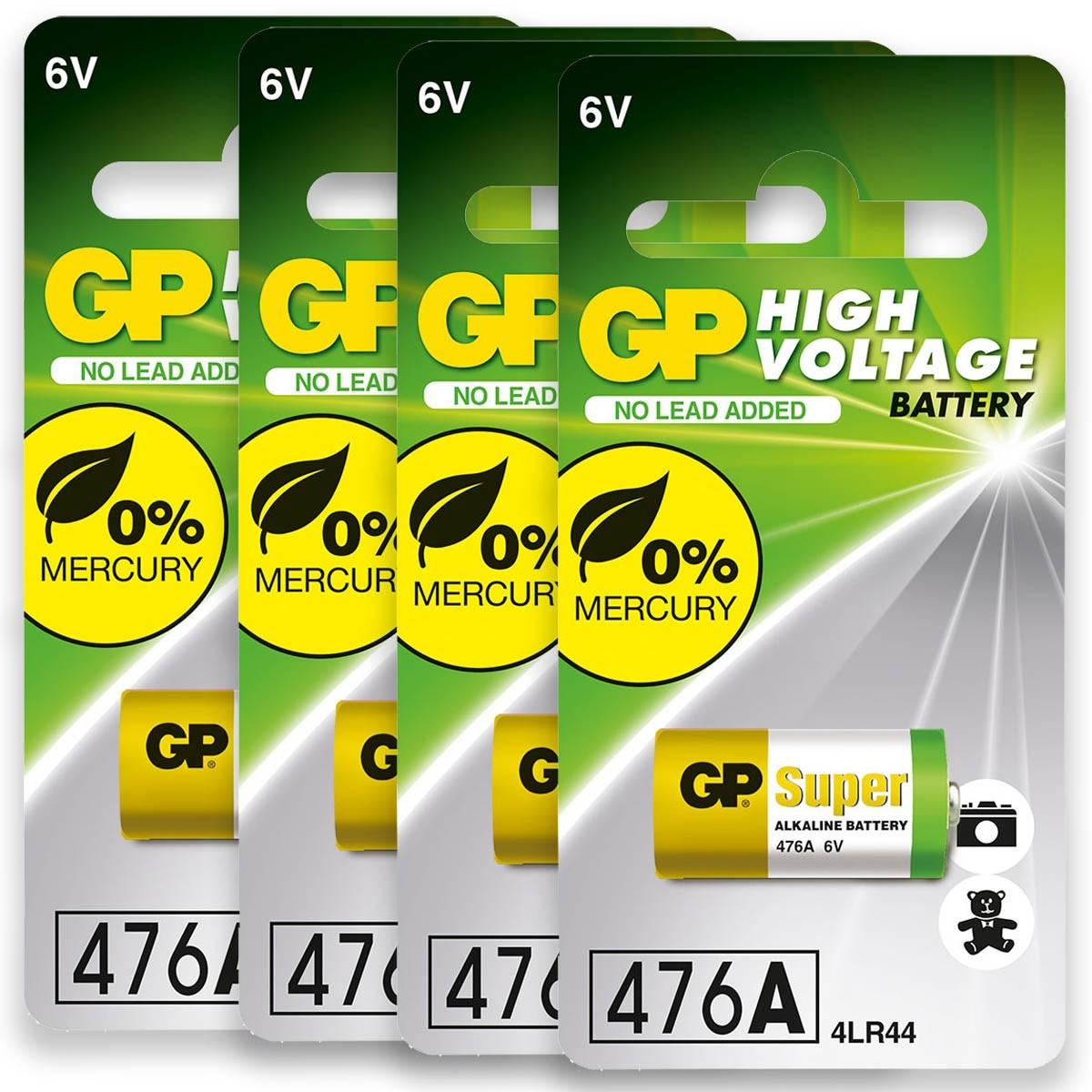 04 Baterias 4LR44 4A76 910A 6V Alcalina Super GP 4 cartelas