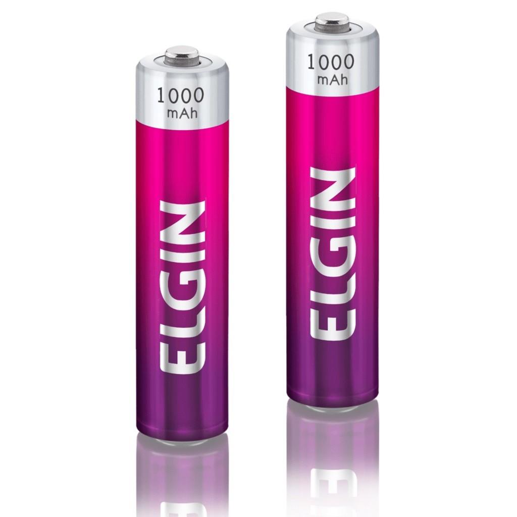 04 Baterias ELGIN AAA 1000mAh Recarregável Alcalina 2 cartelas