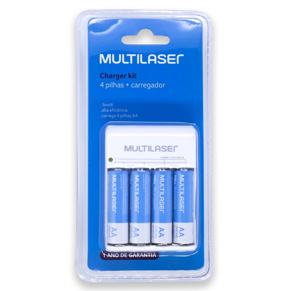 04 Pilhas AA 2500mAh + carregador MULTILASER - 1 cartela
