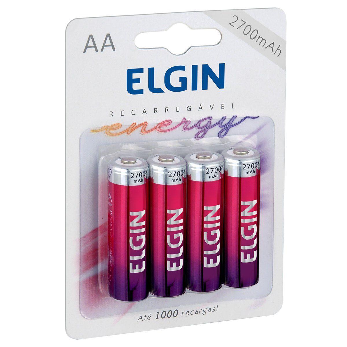 04 Pilhas AA 2700mAh Recarregável ELGIN - 01 cartela com 4 unidades