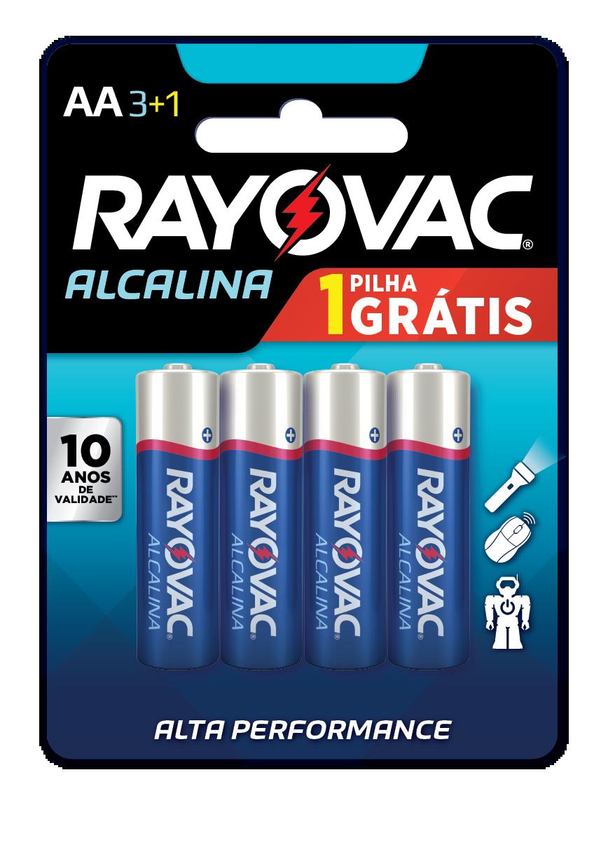 04 Pilhas AA Alcalina RAYOVAC 1 cart c/ 4 unid