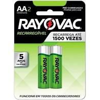 04 Pilhas AA Recarregável 1350mAh RAYOVAC 2 cartelas