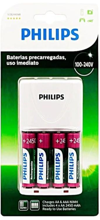 04 Pilhas AA recarregável 2450mAh PHILIPS + carregador