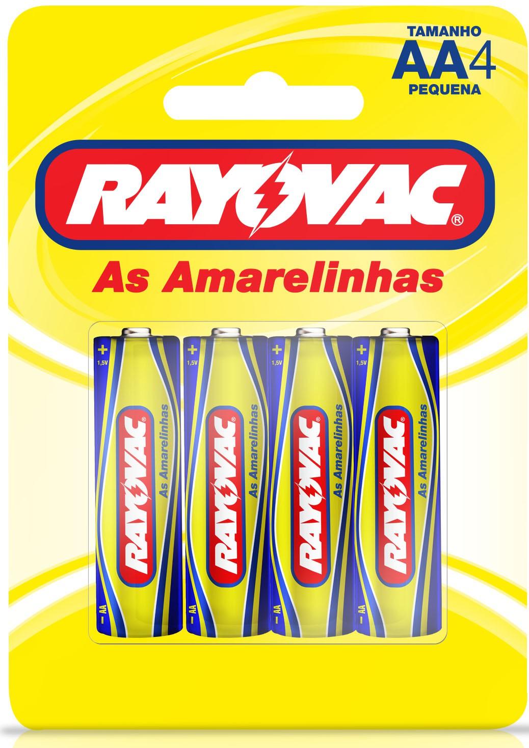 04 Pilhas AA Zinco Carvão RAYOVAC 1 cartela