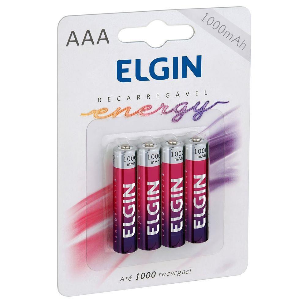 04 Pilhas AAA 1000mAh Recarregável ELGIN - 01 cartela com 4 unidades