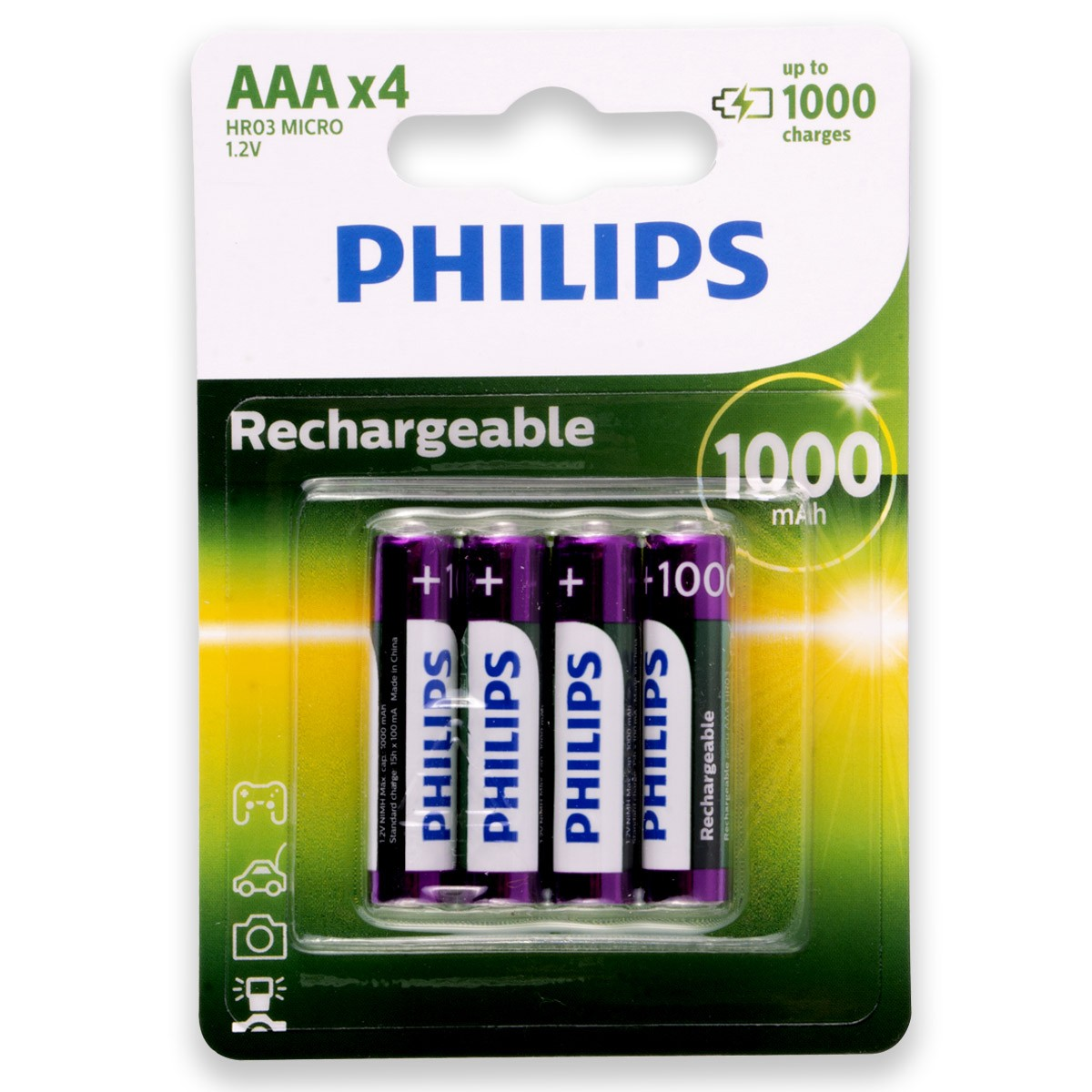 04 Pilhas AAA 1000mAH Recarregável PHILIPS 1 cartela