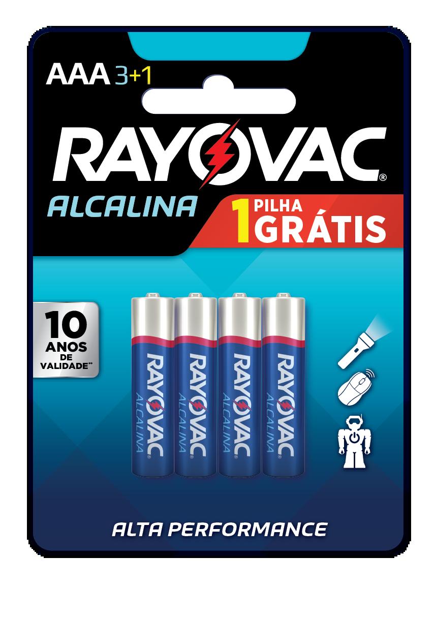 04 Pilhas AAA Alcalina RAYOVAC 1 cart c/ 4 unid
