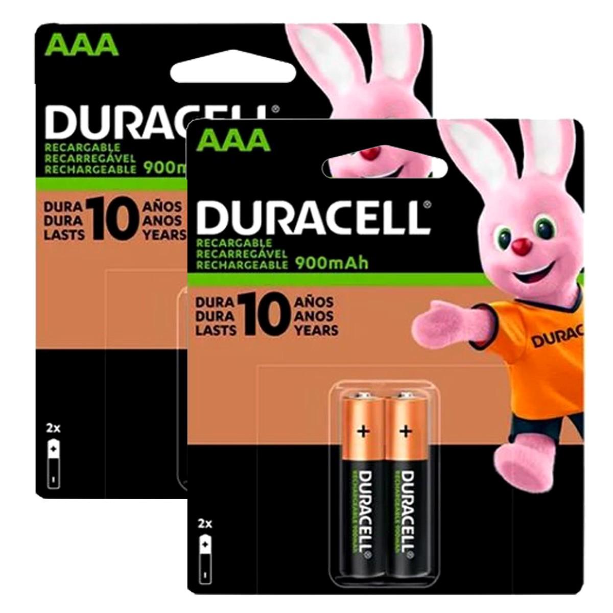 04 Pilhas AAA Recarregável 900mAh DURACELL 2 cartelas