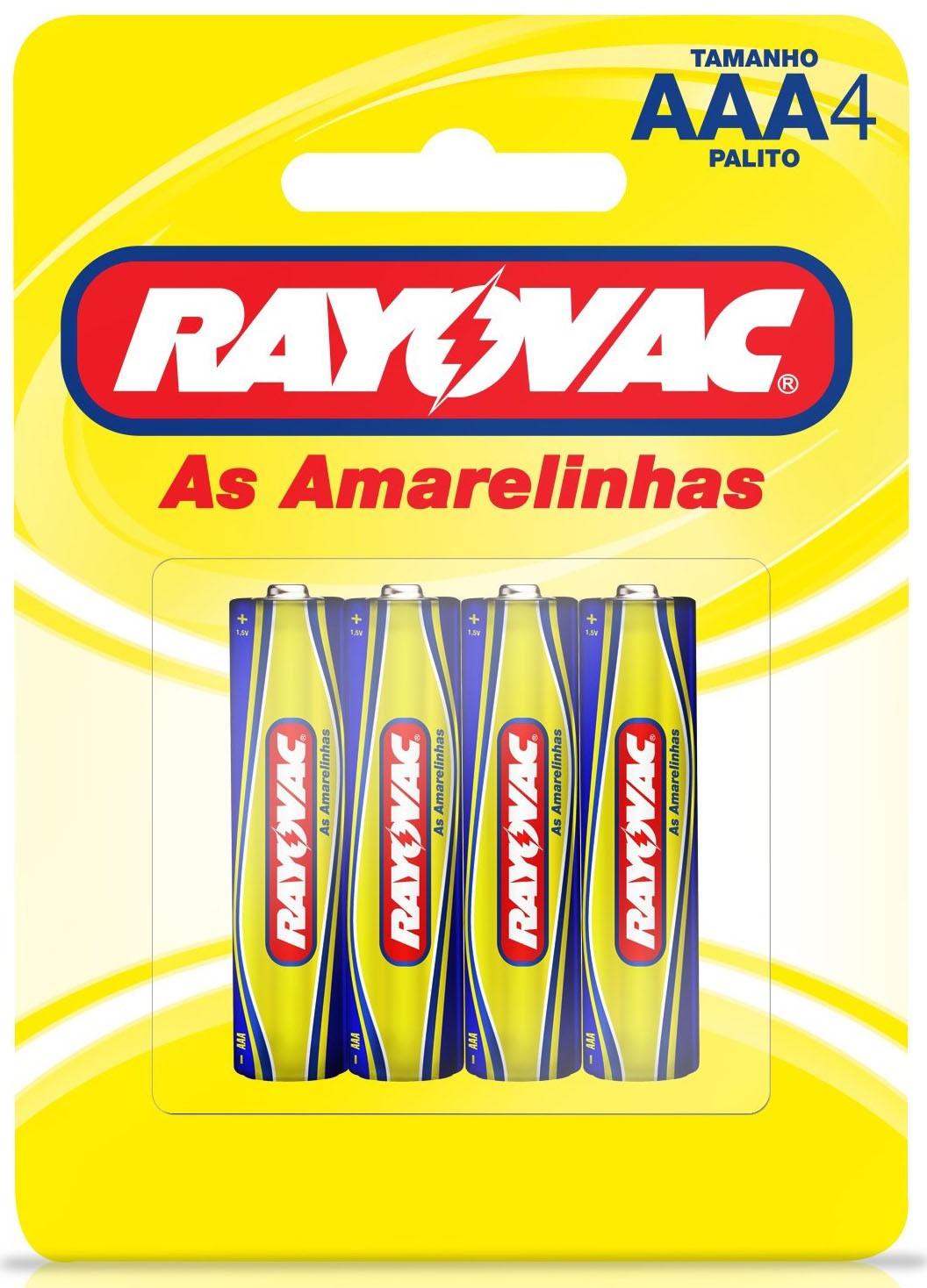 04 Pilhas AAA Zinco Carvão RAYOVAC 1 cartela