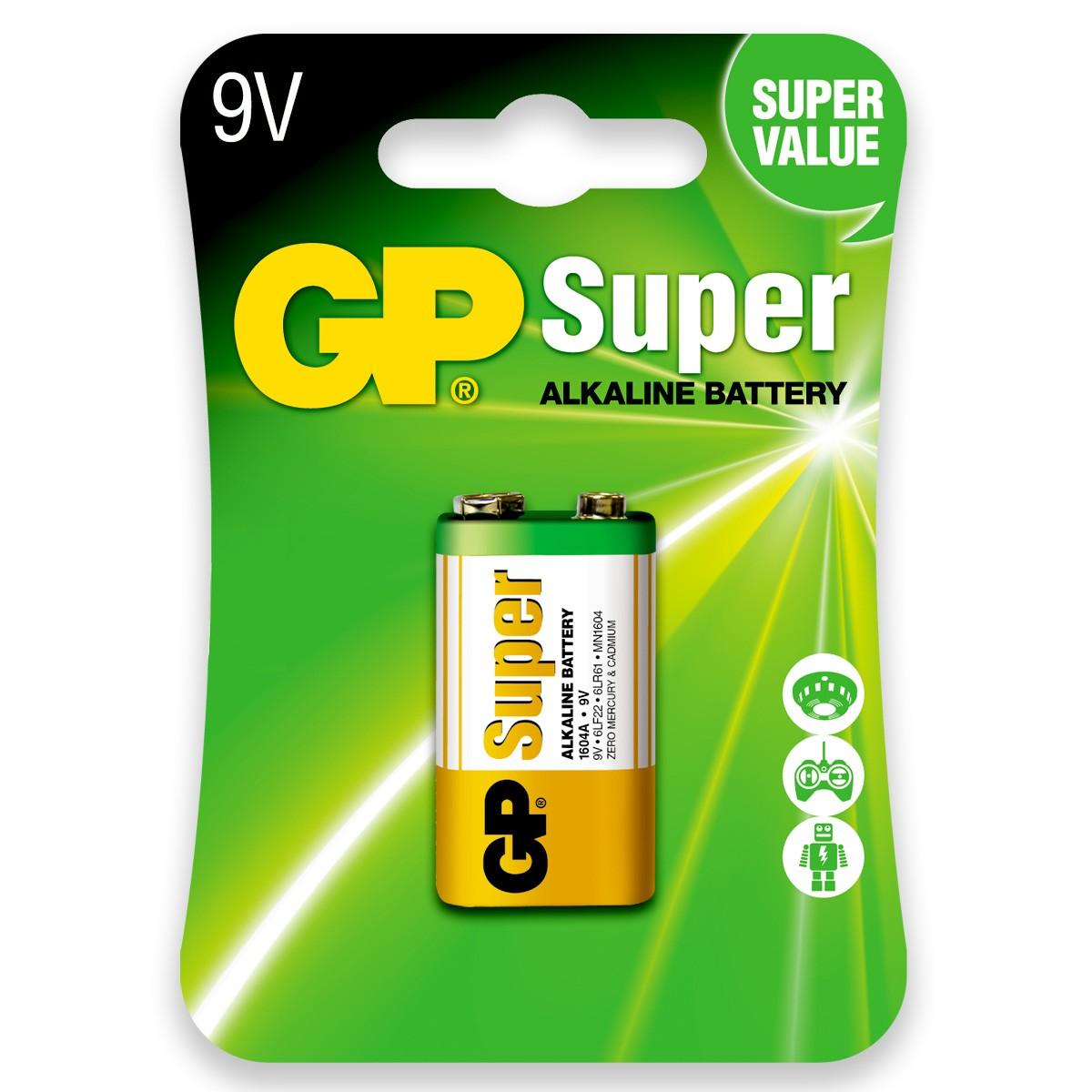 04 Pilhas Bateria 9V Alcalina GP Super 4 cartelas