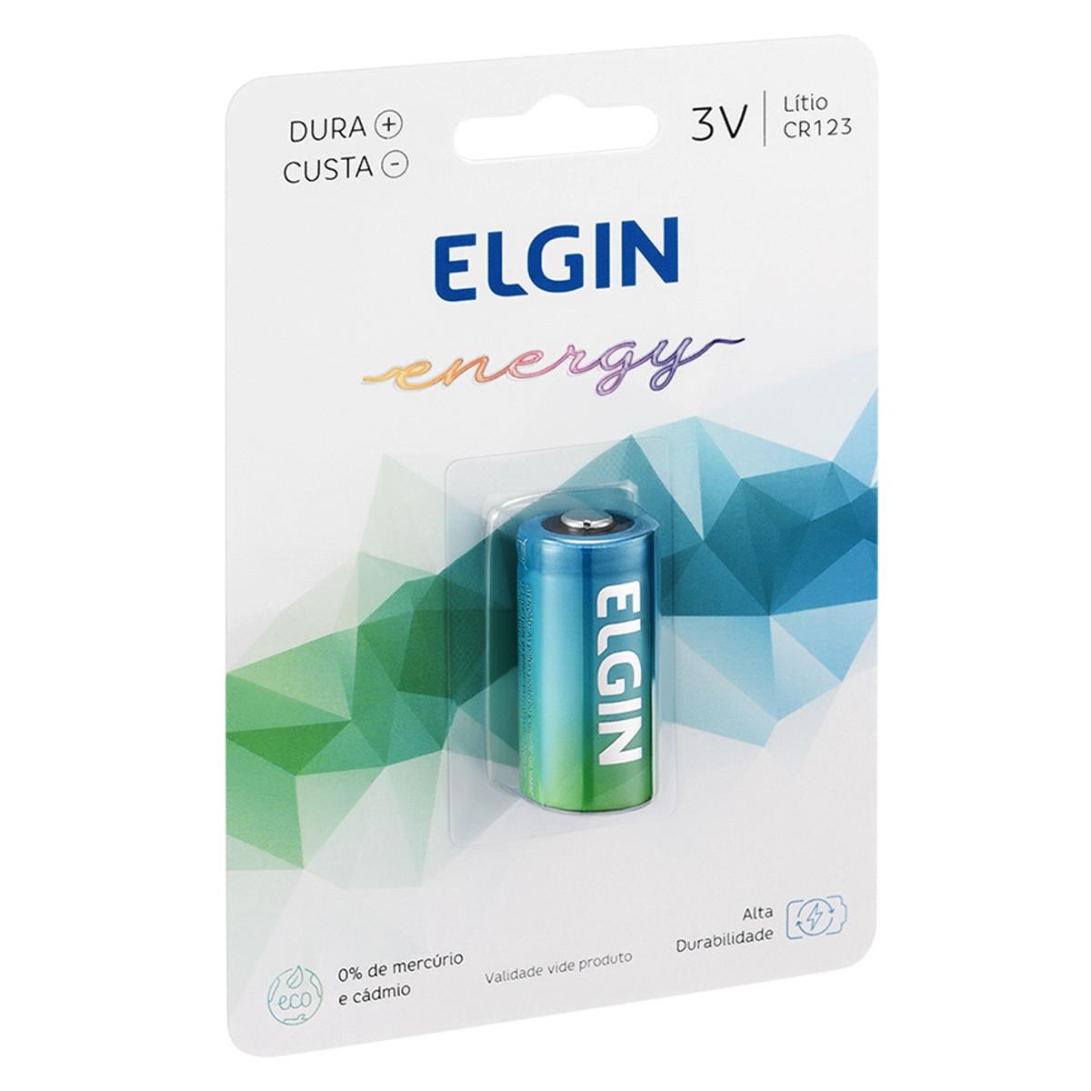 04 Pilhas Bateria CR123A 3V ELGIN 4 cartelas