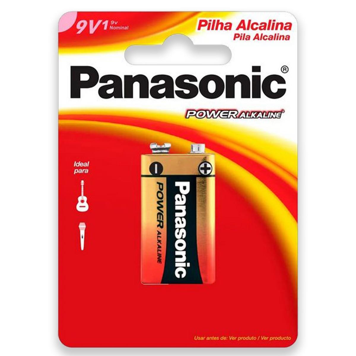 04 Pilhas Baterias 9V Alcalina PANASONIC 4 cartelas